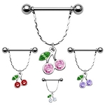 Pair of Surgical Steel Nipple Shields with Gemmed Cherry Dangles