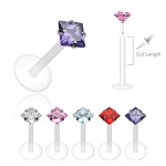 PTFE Shaft with Push-in 3mm Prong Set Princess Cut Gem Labret