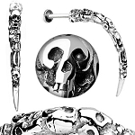 Surgical Steel Artistic Skull Carved Long Claw Labret