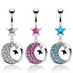Star Belly Ring Dangle with Gem Paved Moon