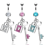 Navel Belly Ring with Gem Lock and Key Dangle
