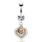Body Jewelry Belly Ring with Prong Set Gem with Triple Tone Gem Pave Heart Design