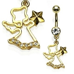 Gold Plated Anglel Fancy Belly Ring Dangle Body Jewelry