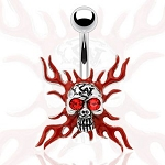 Gothic Flaming Skull Navel Ring Body Jewelry