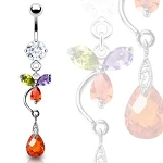 Prong Set Navel Ring with Multi-Colored Flower, Tear Drop Dangle