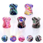 PAIR 00G Multi-Colored Marble Swirl UV Saddle Plugs