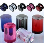 1 Pair of Large Cubic Zirconia Facet Cut Crystal Ear Plugs
