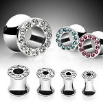 1 Pair 316L Hollow Saddle Plug with Cubic Zirconia Gems