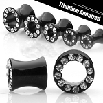 1 Pair of Black Titanium Plated Hollow Saddle Plug with Gem
