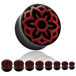 Organic Plug with Red Lotus Inlay (Pair)