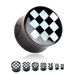 1 Pair Organic Horn Saddle Plugs Pearl Checkered Inlay