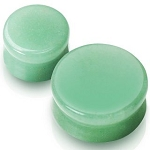 PAIR 00G SOLID JADE COLOR FLOURITE GREEN SADDLE PLUGS