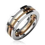 316L Surgical Stainless Steel Ring Rose Gold Center