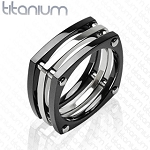 Solid Titanium Ring with IP Black Square Bolt Ring