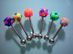 Lot of 5 Silicone Tickler Tongue Rings 14g
