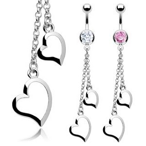 Two Heart Chain Dangle with CZ Gem Body Jewelry Wholesale