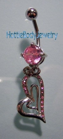 Double Bent Hearts Pink CZ Belly Ring Body Jewelry with Dangle 14G