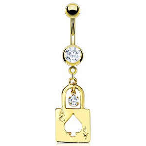 Gold Plated Navel Ring with Ace Spade Lock