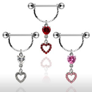1 Pair Nipple Shields with Cubic Zirconia Double Heart Dangles