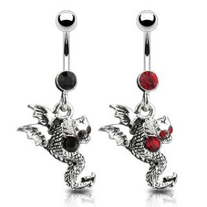 Red Dragon CZ Gem Belly Ring Dangle Body Jewelry