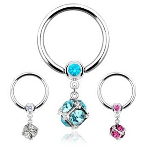 1 PAIR of Nipple Ring CBR with Gem Paved Dice Dangle